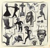 Horroru zestaw - ręka rysująca wektor paczka royalty ilustracja
