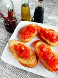 Hors-d'oeuvres d'Italien de bruschette Photo stock