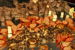 Hors doeuvres and meat snacks Stock Images