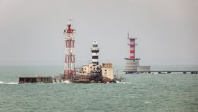 Horsburgh Leuchtturm und Abu Bakar Maritime Base Stockfotografie