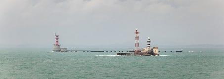 Horsburgh Leuchtturm und Abu Bakar Maritime Base Lizenzfreie Stockbilder