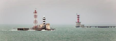 Horsburgh Leuchtturm und Abu Bakar Maritime Base Stockfoto