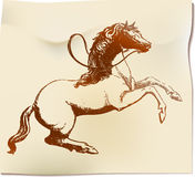 Horse. Ink drawing of horse with time-worn effect of old etching - on the scroll Royalty Free Stock Photos