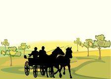 Horse. Cart illustration with tree Royalty Free Stock Image