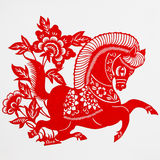 Horse. This paper-cut shows the horse, is one of the Chinese Zodiac Stock Photo