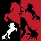 Horse. Abstract illustration, silhouette on black and red Royalty Free Stock Photography