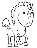 Horse. Cute little horse in line art Stock Images