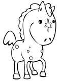 Horse. Cute little horse in line art vector illustration