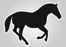 The horse. Vector illustration of black horse with white outline Royalty Free Stock Photos