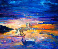 Horse. Original abstract oil painting of a beautiful blue horse running.Modern Impressionism.Painting is related to year 2014-year of the blue horse stock images