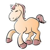 Horse. Cute little cartoon yellow horse Stock Image