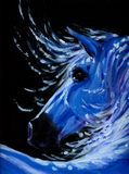 Horse. White horse in night time acrylic painted.Picture I have created myself Royalty Free Stock Photo