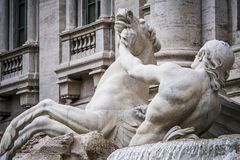 Horse agitated, the Trevi Fountain. Detail of statue of one of the two horses of the Ocean God in the Trevi Fountain completed in 1762 Stock Photography