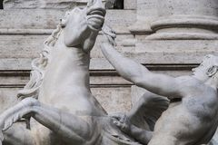 Horse agitated, the Trevi Fountain. Detail of statue of one of the two horses of the Ocean God in the Trevi Fountain completed in 1762 Stock Image