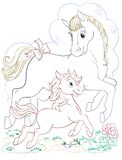 Horse And Foal Cartoon Graphic  Art Whith Color Line Art Royalty Free Stock Photo