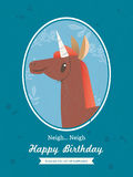 Horse Animal Cartoon Birthday card design. Cute Horse unicorn Animal Cartoon Birthday card design vector illustration