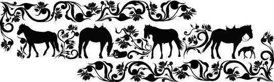 Horse animal. In a flower ornament royalty free illustration