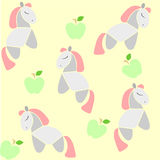 Horse and Apples. A background for kids with pink-hair horses and green apples stock illustration