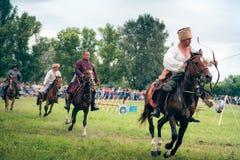 Horse archers. WARSAW - July 04: Horse archers  - Battle of Klushino (KLUSZYN) 1610 reenactment - July 04, 2010 in Warsaw, Poland Stock Photos