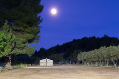 Horse arena against full moon. Royalty Free Stock Photo