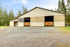 Horse Arena Exterior Building With Two Lareg Gates. Stock Images