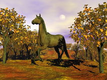 Horse in autumn - 3D render. Beautiful brown horse running among trees by autumn cloudy day Stock Image