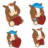 Horse baby cartoon heart set Stock Images
