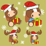Horse baby cartoon xmas set Royalty Free Stock Photography