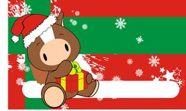 Horse baby claus cartoon background. Xmas cute animal baby cartoon background in vector format very easy to edit Royalty Free Stock Photo