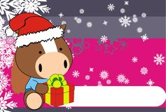 Horse baby claus cartoon xmas background Royalty Free Stock Photos