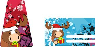Horse baby claus cartoon xmas giftcard. Animal baby claus cartoon xmas giftcard in vector format very easy to edit Stock Photography
