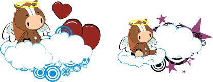 Horse baby cute angel cartoon cloud set Stock Images
