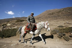 Horse back rider on path, annapurna stock photo