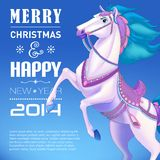 Horse on background, symbol of New Year 2014. White horse on white background, symbol of New Year 2014. Merry Christmas and Happy New Year Card. Vector Stock Illustration