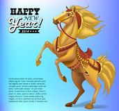 Horse on background, symbol of New Year 2014. Royalty Free Stock Photography