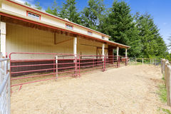 Horse barn with outside stable Royalty Free Stock Image