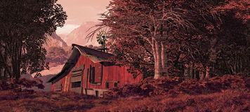 Horse Barn With Windmill. A country scene with old horse barn and windmill royalty free illustration