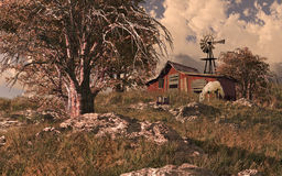 Horse Barn And Windmill. A country scene with horse barn and windmill Stock Photos