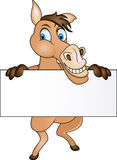 Horse with blank sign Stock Photos