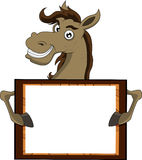 Horse with blank sign Royalty Free Stock Image