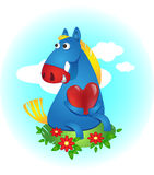 Horse. Blue horse with a heart, sitting on a clearing stock illustration