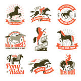 Horse breeding labels emblems set Royalty Free Stock Images