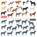 Horse breeds color flat icons set. Horse black silhoutte simple icons set Royalty Free Stock Photos