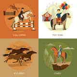 Horse Breeds Concept 4 Icons Square Royalty Free Stock Image