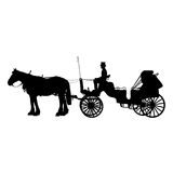 Horse and Buggy. A black silhouette of a horse and buggy or carriage vector illustration