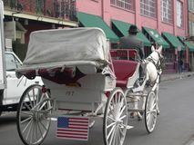 Horse and Buggy Carriage Service, New Orleans, LA stock photo
