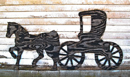 Horse and Buggy Silhouette-0060. Horse and buggy silhouette cut out of plywood Royalty Free Stock Photography