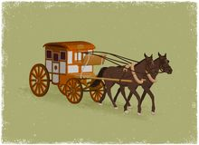 Horse Buggy. In vintage vector style vector illustration