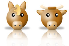 Horse and bull animals icons royalty free stock photography