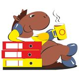 Horse businessman drinking coffee 009 Stock Photo